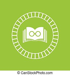 book symbol on green background