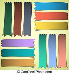 vector, bookmarks, set, linten, of