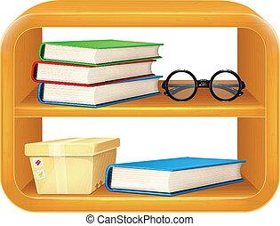 Vector Books, Box, Glasses on Shelf