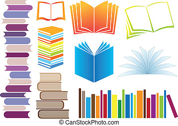 vector books - set of colorful books, vector illustration