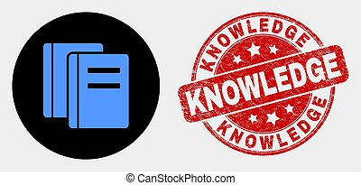 Vector Books Icon and Distress Knowledge Stamp Seal