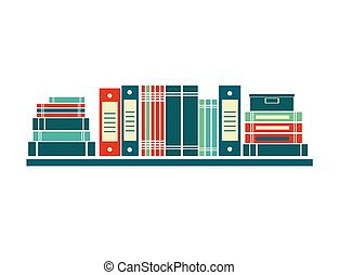 Vector books on bookshelves.