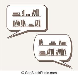 Vector books on shelf in speech