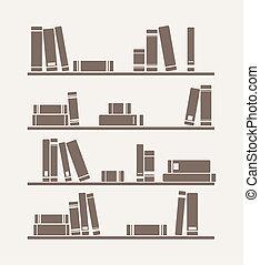 Vector books on the shelf