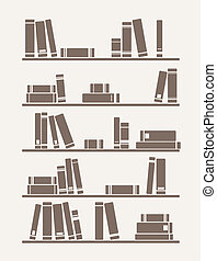 Vector books on the shelf - Books on the shelves simply ...