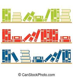 Vector books on the shelves.