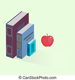 Vector books with apple flat design