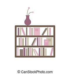 Vector Bookshelf with Books