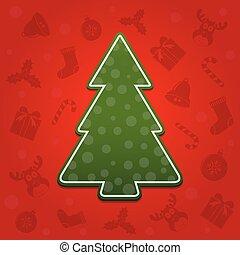 vector, boompje, kerstmis, achtergrond