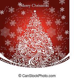 vector, boompje, kerstmis, goud