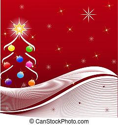 vector, boompje, kerstmis, illustratie