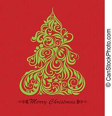 vector, boompje, kerstmis kaart
