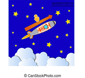 Vector Boost Business Illustration, Rocket with Man and Arrow, Blue Sky with Stars.