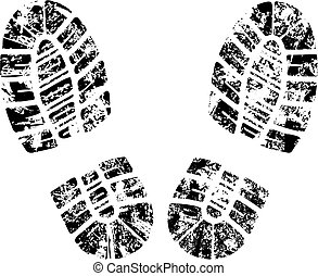 vector bootprint - detailed black and white bootprint - ...