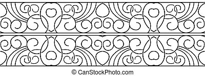 Vector border. Black seamless pattern