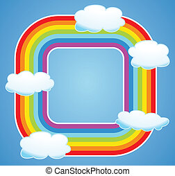 vector  border of rainbow and clouds