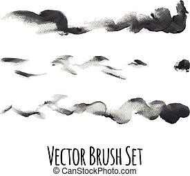 vector, borstels, set, communie, nagespoorde