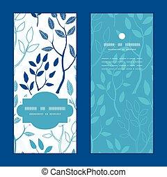 vector, bosque azul, vertical, marco, patrón, invitación, tarjetas de felicitación, conjunto