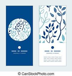 vector, bosque azul, vertical, redondo, marco, patrón, invitación, tarjetas de felicitación, conjunto