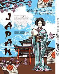 vector, bosquejo, cartel, de, japón, viaje, símbolos