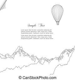 vector, bosquejo, de, globo del aire caliente, encima, montañas