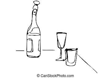 vector, bosquejo, de, un, botella champaña, y, gafas vino, sobre la mesa