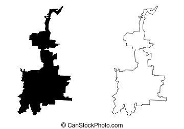 vector, bosquejo, mapa, ciudad, sumatra, indonesia, ...