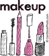 vector, Bosquejo, Maquillaje, Ilustración, productos