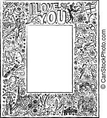 vector, bosquejo, marco, plano de fondo, con, amor, historia, elementos