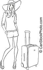 vector, bosquejo, moda, mujer, con, bolsa