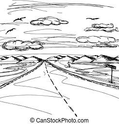 vector, bosquejo, plano de fondo, con, aire libre