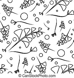 Vector botanical monochrome pattern from black plants and grass blades on a white background.