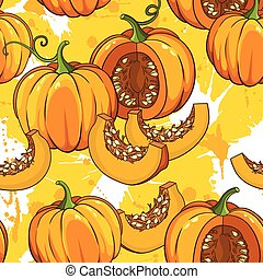 botanical pattern with pumpkins