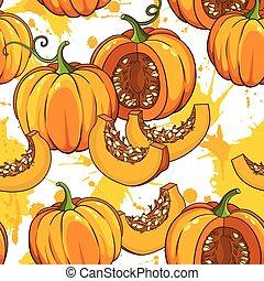 botanical pattern with pumpkins
