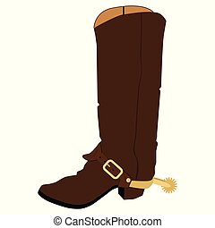 vector, botas, vaquero