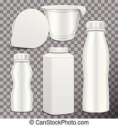 vector, botella plástica, conjunto, y, redondo, blanco, brillante, plástico, olla, para, lechería, products., para, leche, bebida, yogur, crema, dessert., realista, mockup, plantilla