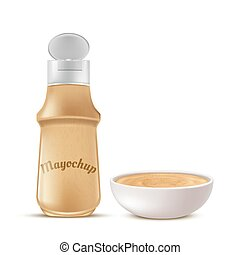 Vector bottle and bowl full of mayochup sauce