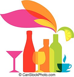 Vector bottles colored icon. drinks