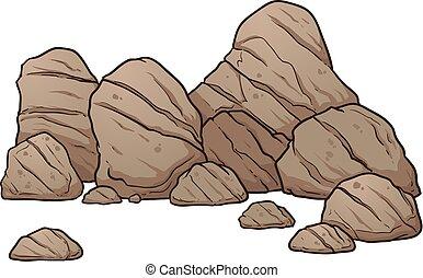 Vector boulders - Cartoon boulders and rocks. Vector clip...