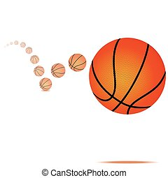 Vector illustration of a bouncing basketball on white background
