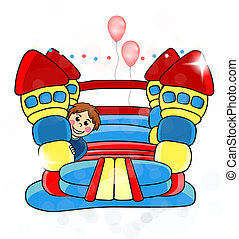 Vector bouncy castle - childrens entertainment - EPS 10 - ...