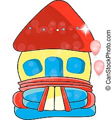 Vector bouncy castle - children's entertainment, , inflatable toy