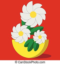 Vector bouquet flowers in a yellow vase on a red background