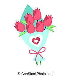 Vector bouquet of pink roses isolated on a white background. Vectro. EPS 10