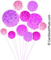 Vector Bouquet Of Pom Poms Baby Girl Pink Decorative Element. Great for nursery room, handmade cards, invitations, baby girl designs.