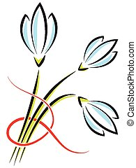 Vector bouquet of spring flowers. Crocuses or snowdrops with a red ribbon
