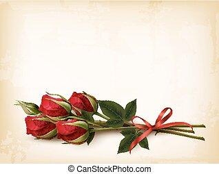 vector., bouquetten, roses., achtergrond, vakantie, rood