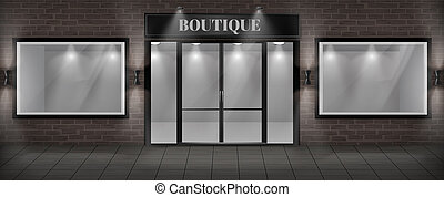Vector boutique shop facade with signboard