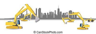 vector, bouwsector, city., illustration., mechanisme