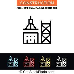 vector, bouwsector, icon., dune lijn, pictogram